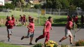 Students running.
