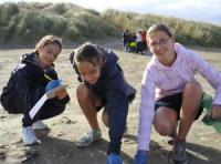 Students undertaking beach studies.