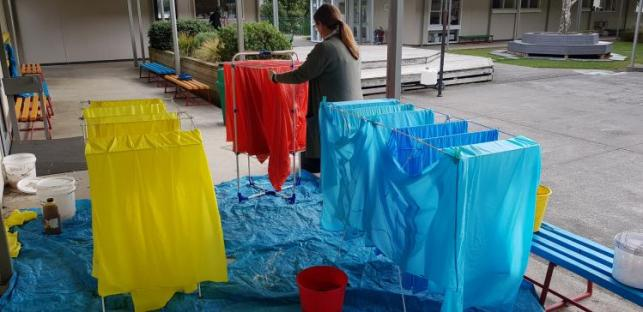 Drying the lavalava.