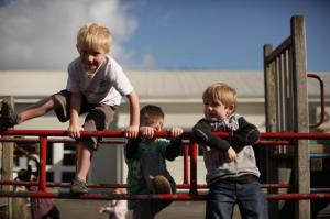 Students in the playground.