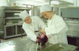 Emma Haddock and Dale Wicken studying food technology.