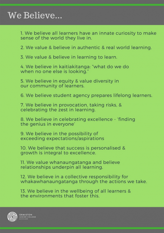 Ormiston Junior College - beliefs about learning.