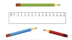 Three pencils and ruler.