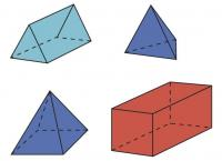 Four 3D shapes.