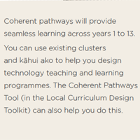 Coherent pathways will provide seamless learning across years 1 to 13.  You can use existing clusters and kāhui ako to help you design technology teaching and learning programmes. The Coherent Pathways Tool (in the Local Curriculum Design Toolkit) can also help you do this.