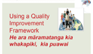 Using a quality improvement framework.