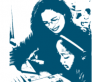 Blue and white image of teacher working with a child.