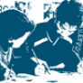 Blue and white image of three students writing.